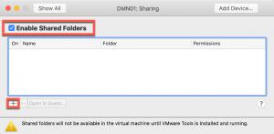 Activation de partage de dossiers dans vmware