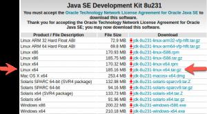Choix du java JDK 8