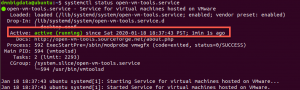 open vm tools service status