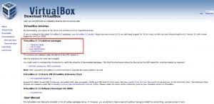 Image montrant le site de téléchargement de Virtual Box.