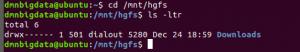 vérification du dossier partagé dans ubuntu